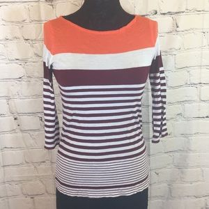 3/4 sleeved colorful striped tee shirt